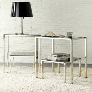 Kona Contemporary Chrome Nesting Glass-Top Accent Table