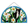 Joan Baker Daffodil & Cat Art Glass Panel