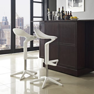 'Flare' White Scoop-seat Adjustable Barstool