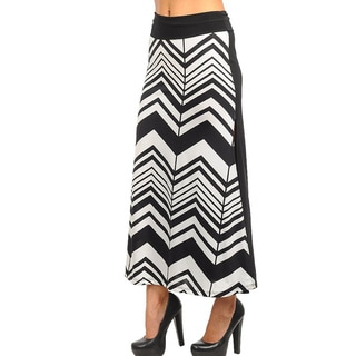 Stanzino Women's Black and White Chevron Maxi Skirt