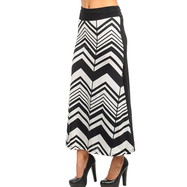 Stanzino Women's Black and White Chevron Maxi Skirt