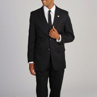 Stacy Adams Men's Solid Black 3-piece Suit