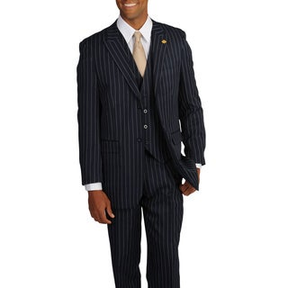 Stacy Adams Men's Navy/White Stripe 3-piece Suit