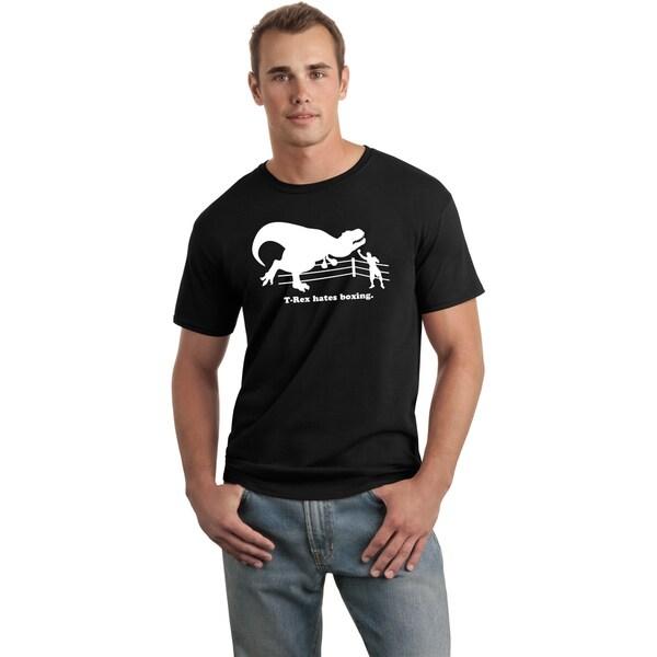 Men's Black 'T-Rex Hates Boxing' Funny T-Shirt