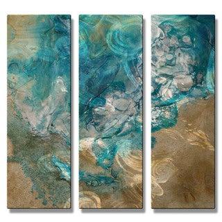 Kelli Money Huff 'Lively Tide Pool' Metal Wall Art 3-piece Set