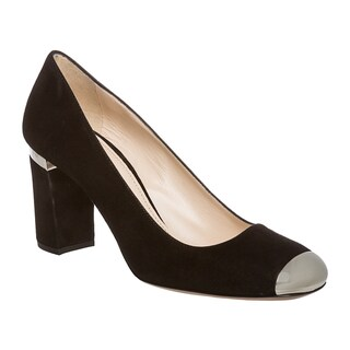 Prada Women's Black Suede Cap-toe Pumps