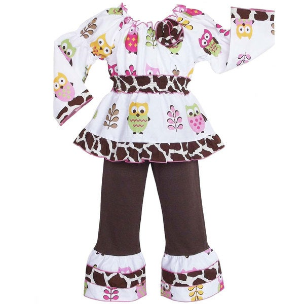 AnnLoren Girls Owls and Giraffe Print 2-piece Outfit