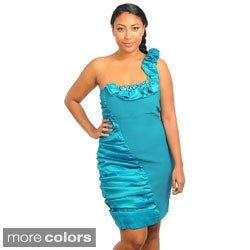 Stanzino Women's Plus Size Single Shoulder Inset Satin Dress