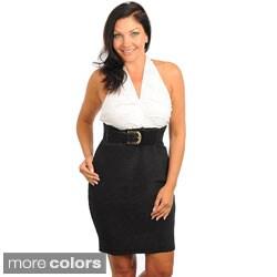 Stanzino Women's Plus Size Belted Halter Dress