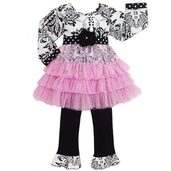 AnnLoren Girls Damask/ Dots Tunic Dress and Pants Set