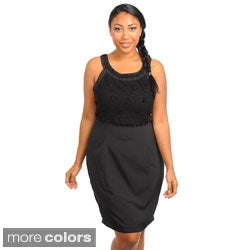 Stanzino Women's Plus Size Sleeveless Embroidered Dress