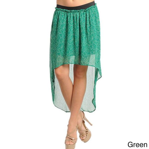 Stanzino Women's High-low Floral Chiffon Skirt