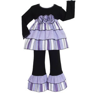 AnnLoren Boutique Girls Purple 2-piece Rumba Outfit