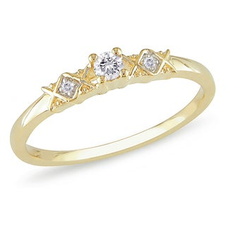 Miadora 14k Yellow Gold 1/10ct TDW Diamond Promise Ring (G-H, I1-I2)
