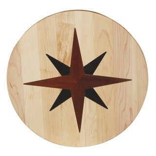Nautical Star Inlay Wooden Lazy Susan