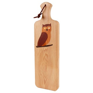 Owl Inlay Wooden Bread Board