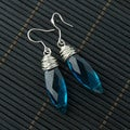 Elongated Wire-Wrapped Aquamarine Crystal Earrings (China)