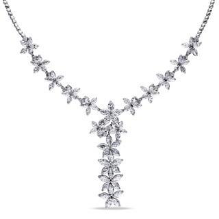 """Miadora 14k Gold 12 7/8ct TDW Diamond Floral """"Y"""" Necklace (G-H, SI-SI2)"""