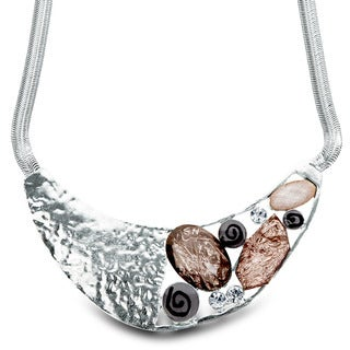 Silvertone Hammered Foil and Resin Bib Necklace