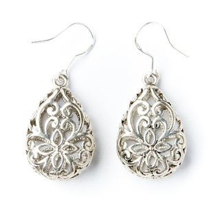 Silver-Tone Lattice Teardrop Earrings (China)