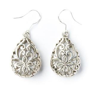 Silver-Tone Lattice Teardrop Earrings (China)