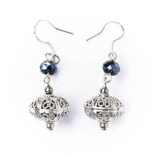Silver Bali and Crystal Bead Earrings (China)