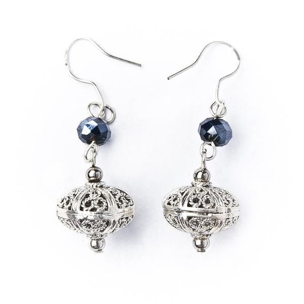 Silver Bali and Crystal Bead Earrings (China)