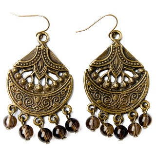 Antique Gold and Crystal Bead Chandelier Earrings (China)