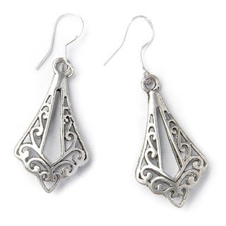 Angular Silver-tone Lattice Teardrop Pendant Earrings (China)