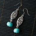 Silver Marquise Earrings with Turquoise Bead (China)