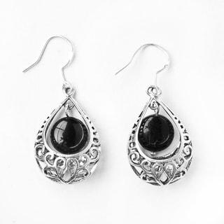 Silver Teardrop Pendant and Black Glass Bead Earrings (China)
