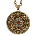 Goldtone Crystal and Glitter Medallion Necklace