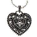 Black-plated and Silvertone Clear Crystal Heart Necklace