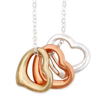 Goldtone, Silvertone and Coppertone Open Heart Necklace