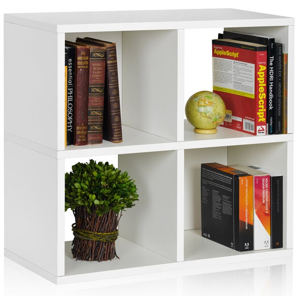 4-cubby Eco-friendly zBoard Bookcase and Stackable Organizer