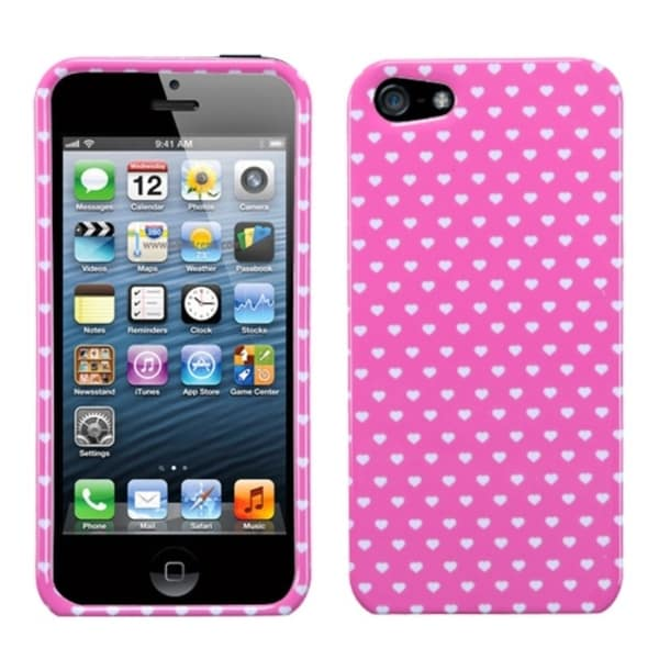 INSTEN Pink Vintage Heart Dots Phone Case Cover for Apple iPhone 5