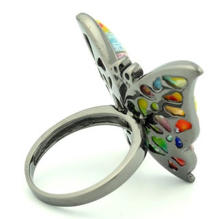 Plutus Black Rhodium Plated Sterling Silver Multicolor Millefiori and CZ Butterfly Ring