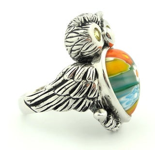 Plutus Sterling Silver Multicolor Millefiori Owl Ring With CZ Eyes