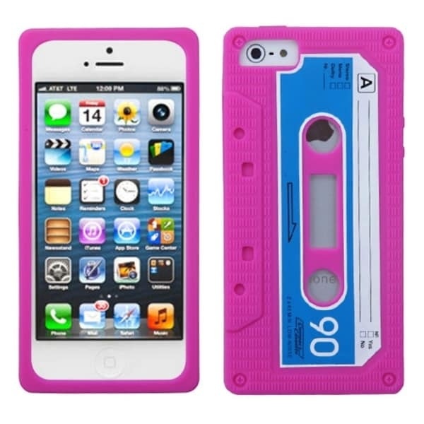 INSTEN Hot Pink Retro Cassette Skin Phone Case Cover for Apple iPhone 5