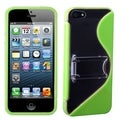 BasAcc Clear/ Green S Shape Gummy Case with Stand for Apple iPhone 5