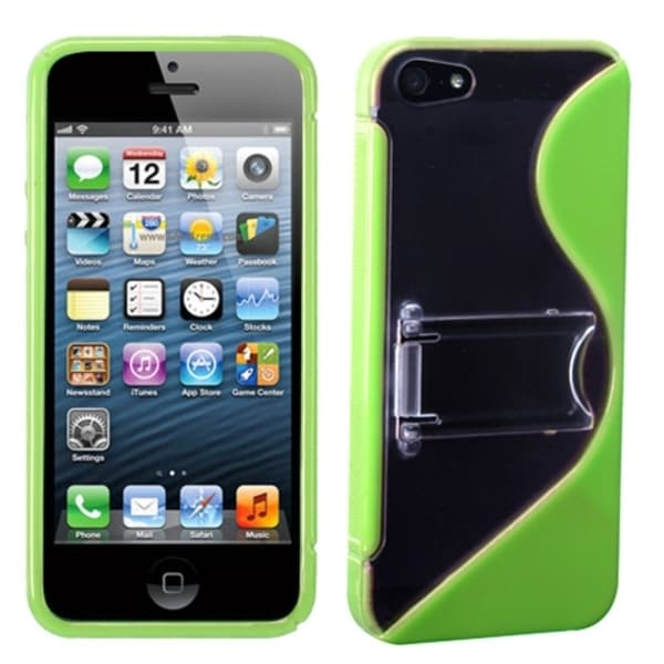 INSTEN Clear/ Green S Shape Gummy Phone Case Cover with Stand for Apple iPhone 5