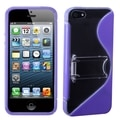 BasAcc Clear/ Purple S Shape Gummy Case with Stand for Apple iPhone 5