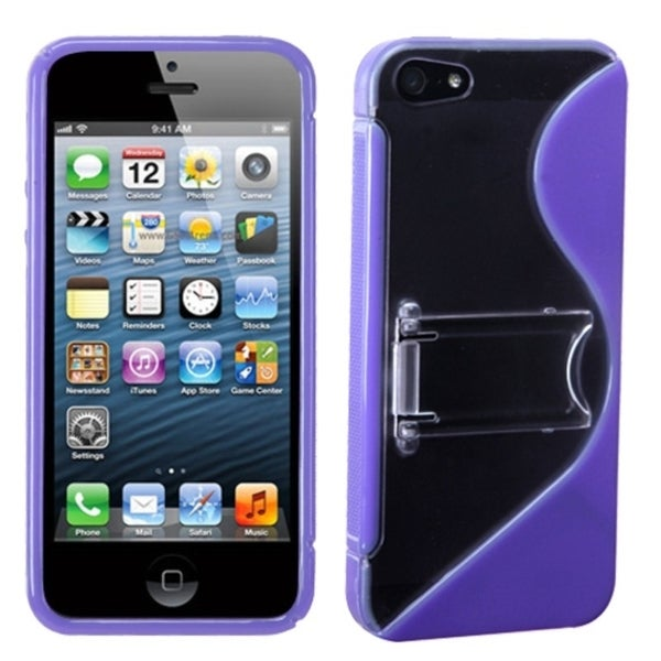 INSTEN Clear/ Purple S Shape Gummy Phone Case Cover with Stand for Apple iPhone 5