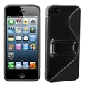 BasAcc Clear/ Black S Shape Gummy Case with Stand for Apple iPhone 5