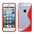 BasAcc Clear/ Solid Red S Shape Gummy Case for Apple iPhone 5