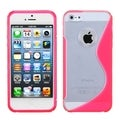BasAcc Clear/ Hot Pink S Shape Gummy Case for Apple iPhone 5