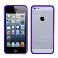 BasAcc Transparent Clear/ Solid Purple Gummy Case for Apple iPhone 5