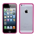 BasAcc Transparent Clear/ Solid Hot Pink Gummy Case for Apple iPhone 5