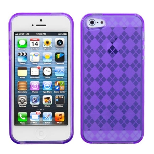 INSTEN Purple Argyle Candy Skin Phone Case Cover for Apple iPhone 5