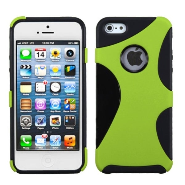 INSTEN Green/ Black Cragsman Mixy Rubberized Phone Case Cover for Apple iPhone 5